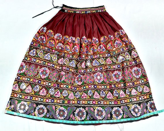 ethnic skirt Work indian cotton Work Vintage vintage skirt heavy old afghani Beaded very Embroidered skirt tapestry Heavy banjara ART skirt qx1SOI8