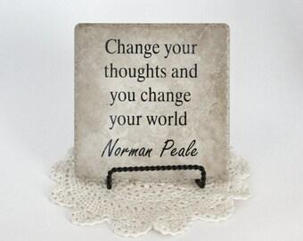 Change Your Thoughts Custom Tile - Vinyl Sayings - Vinyl Sign - Tile Sign - Vinyl Tile Sign - Motivational - Inspirational - Decroative Tile