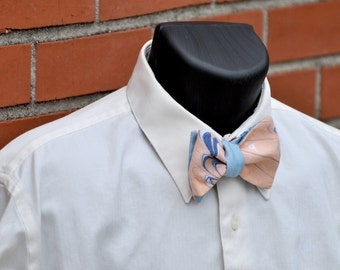 Self Tie Bow Tie Blue Marbled for Auburn or New York Knicks MM#15-4