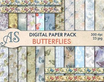 Digital Summer Butterflies Paper Pack, 22 printable Digital Scrapbooking papers and 4 borders, Digital Collage, Instant Download, set 4