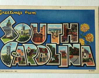 South Carolina POSTCARD / Vintage Greetings from South Carolina Large Letters Souvenir Postcard Palmetto State Used, Posted 1944