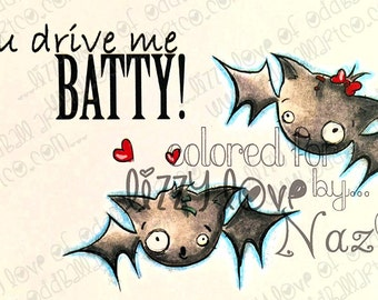 INSTANT DOWNLOAD Creepy Cute Bats Stamp w/ Sentiment - Bat Love  Image No.329 by Lizzy Love