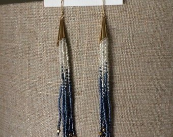 periwinkle seed bead fringe earrings