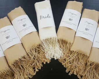 Pashmina 7pc - Personalized shawl - Bridesmaids gifts - Wedding favors - Customized scarves