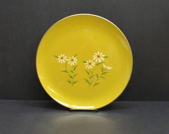Vintage Mod Yellow Daisy Round Enamel Serving Tray (E9665)