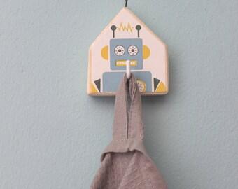 Robot hook, Backpack holder, Kids room hook, Cottage hook, Key holder hooks, Nordic design hook, Gift for kids, Bag holder, Wooden hook
