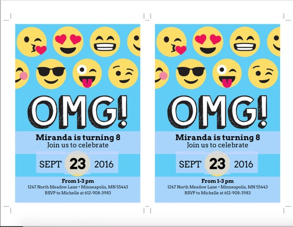 Emoji Birthday Invitation Template, Blue, Emoji Birthday Party, Emoji  Invitation, Emoticon, Teen Birthday, Emoji Party Invite, DIY Printable  Invitation Templates Birthday