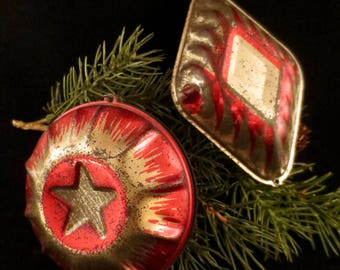 Two Vintage Tin Ornaments, Double Sided