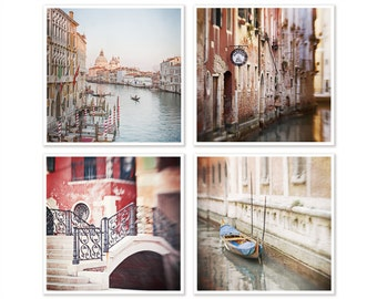 Venice, Set of 4 Prints, Gift for Traveller, Gallery Wall Art Print Set, House Warming Gift, Venice Wall Decor