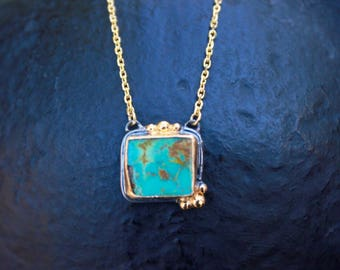 Turquoise necklace, december birthstone necklace, gemstone necklace, gift for her, gold, blue gemstone.