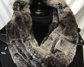 Faux Fur Cowl Scarf- Chinchilla Brown and Taupe Circle Scarf- Fashion Snood