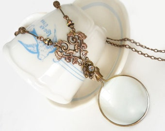 Magnifying Glass Necklace, Monocle, Glass Lens Magnifier, Long Necklace, Flowers and Vines, Gift for Mother Grandmother
