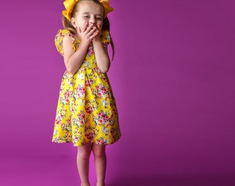 Yellow Girls spring dress, baby spring dress, toddler summer dress,floral dress, floral dress, flower girl dress, boutique dress, vintage