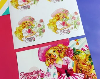 Peppermint Rose Stickers & Magnet (Set)