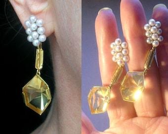 750 Gold Zitrin Ohrringe, 18 K Perlen Ohrsteckern, Edelstein Ohrschmuck, separat tragbar,  Tudor Schmuck, Unikatschmuck, Citrin Ohrringe