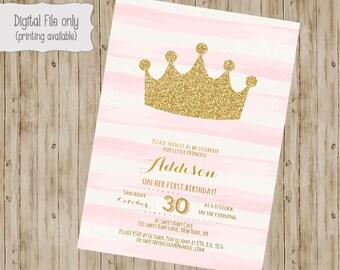 Princess Birthday Invitation / Gold Glitter Birthday Invitation / 1st, 2nd, 3rd Girl's Birthday Invitation / Pink, White, Gold, watercolor