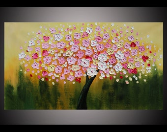 Hand-painted big size modern wall art living room bedroom home decor white pink flower tree thick palette knife oil painting canvas By Lisa