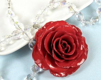Große echte Rose, Kristallhalskette - rot, Blumenkette, echte Blumenschmuck, Naturschmuck, Kristall Halskette, Statementkette