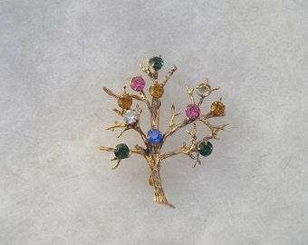 Vintage Gold over Sterling 925  Multi Colored Rhinestone Tree Pin Brooch