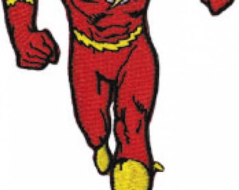 The Flash Running Embroidered Patch / Iron On Applique, Superhero, DC Comics