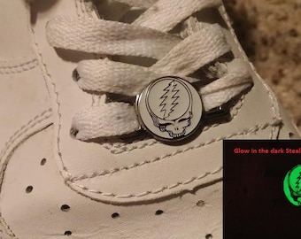 Dead Head Glow In The Dark Skull Shoe Lace Sneaker Laces Lacer Charms NOT a hat pin