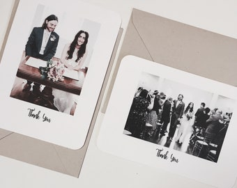 60 Wedding Thank You Cards Photograph Personalised Rustic