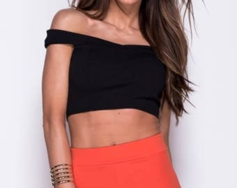 Bardot Crop Top with Panel Detail
