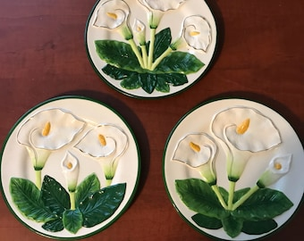 Vintage Calla Lily Ceramic Plates Raised Flower Design Marked by K.M.C. 1970's Set of 3 Decorative Home Decor Item #611545363
