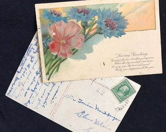 Set of Two Vintage Postcards, 1910, 1923