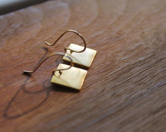 Fort Knox Gold Square Earrings on Handmade Artisanal Gold Filled Ear Wires