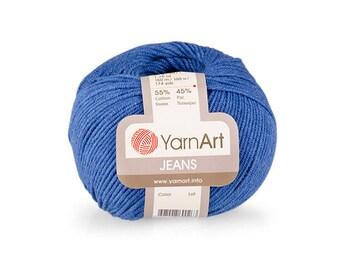 Jeans Yarn Art Crochet yarn Yarn for knitting Hypoallergenic yarn Summer yarn Hand knit yarn Color choice Cotton-Acrylic yarn Soft yarn
