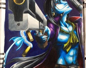"""Fantasy art prints """"Gunslinger Gui"""""""