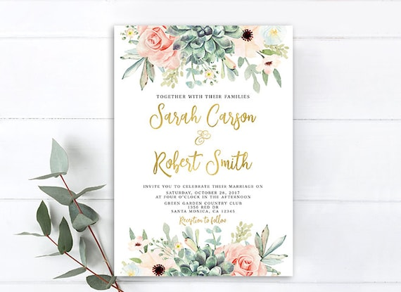 Floral succulent wedding invitation rustic succulent and