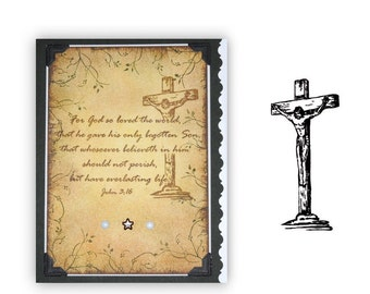 Crucifixion UNMOUNTED rubber stamp, religious Easter, Christian, Jesus Christ on cross, Sweet Grass Stamps No.16