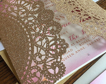 20 Pink and Gold Glitter Laser Cut 1st Birthday Princess Pocket Invitations Any Age & ANY COLORS