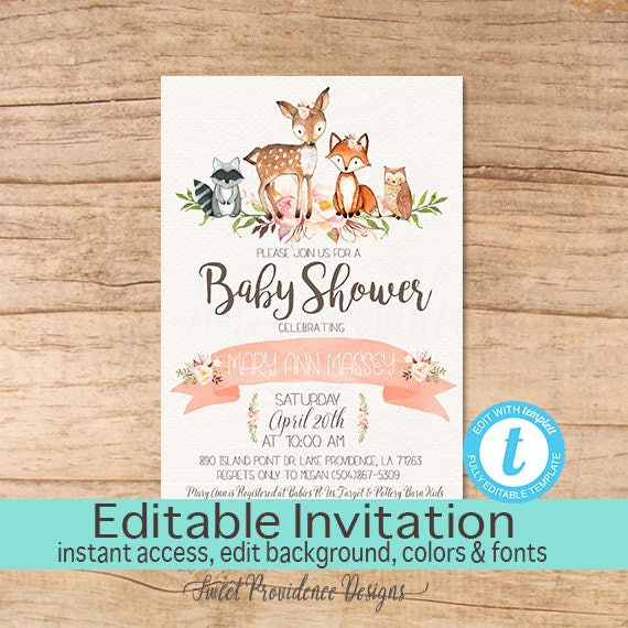 Floral woodland animals baby shower invitation editable baby floral woodland animals baby shower invitation editable baby shower invitation girl woodland invite printable template instant download filmwisefo Choice Image