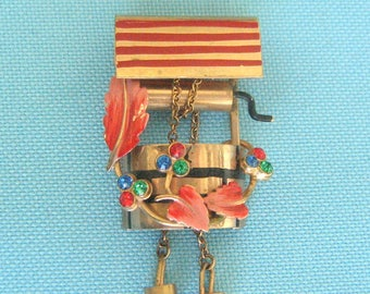 Gold Tone and Enamel Wishing Well Brooch