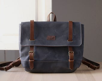Waxed canvas backpack, Rucksack, Waxed Canvas Bag, Travel Bag, Leather, ELLE grey