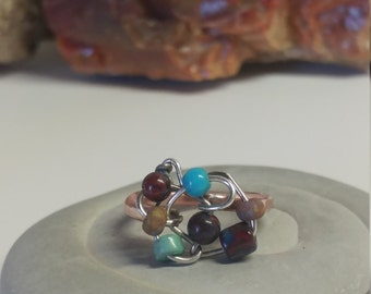 Beaded copper rings, size 6 rings