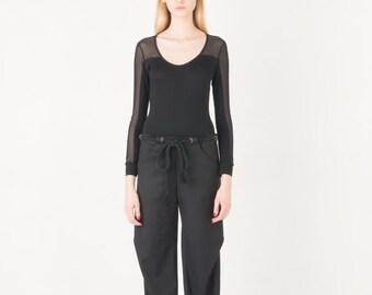 On sale -20% Black wool pants with rope belt