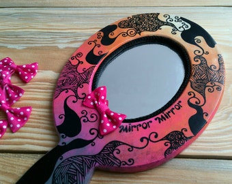 Hand Painted Patterned Unique Wooden Hand Mirror Mirror