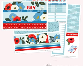 JULY Monthly View Planner Sticker Set | Fits ECLP or Classic Happy Planner