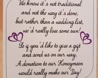 Money Request Poem Honeymoon Purple Double Heart - Square on White Card KP028 PR/WT