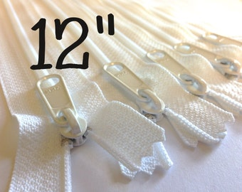 SALE, white 12 inch Handbag zippers with extra long pull, TEN pcs, YKK white color 501