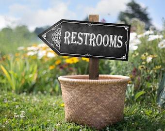 Chalkboard Printable Restroom Arrow Sign, Direction Sign, Rustic Bathroom Sign, Chalkboard Sign, Restrooms this way, Arrow Sign, DIY Sign