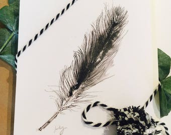 Feather, watercolor, balck and white, Feather Notecards