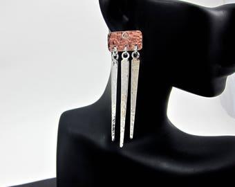 long silver earrings, long drop earrings, chandelier earrings, spike earrings, hammered earrings