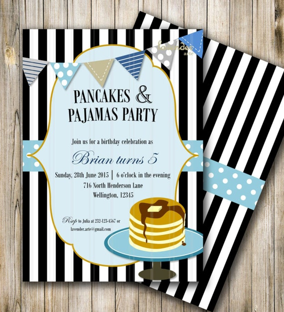 Pancakes and pajamas party boy birthday invite pancakes and like this item filmwisefo Gallery