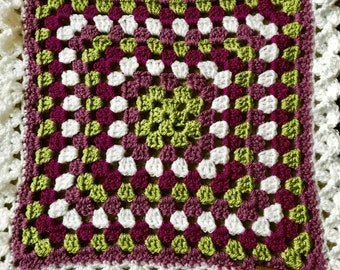 Crochet baby snuggle blanket/ purple green and white small blanket