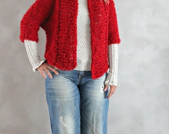 Hand Knitted Chunky Cardigan Womens Knit Sweater Custom Made Cardigan Red Sweater Gift for Her